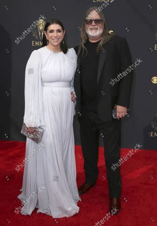 Stacey Sher, left, and Kerry Brown arrives at the 73rd Emmy Awards at the JW Marriott on at L.A. LIVE in Los Angeles