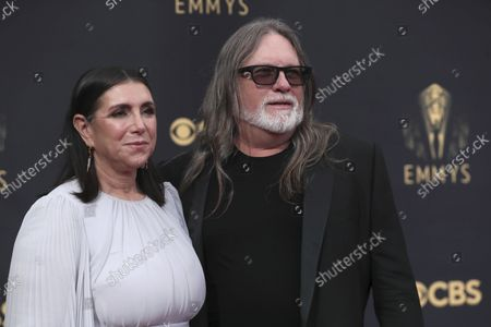 Stock Photo of Stacey Sher, left, and Kerry Brown arrives at the 73rd Emmy Awards at the JW Marriott on at L.A. LIVE in Los Angeles