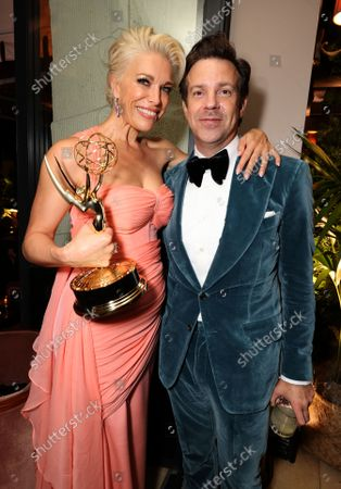 Exclusive - Hannah Waddingham and Jason Sudeikis celebrate the historic Emmy wins for Apple's Ted Lasso at the Apple TV+ cast and creative team gathering at Sunset Tower, Los Angeles, CA