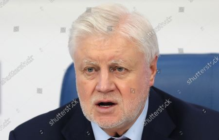 Stock Photo of Just Russia political party leader, Sergei Mironov, attends a post-election press conference in Moscow, Russia, 20 September 2021. According to the preliminary information 195 representatives of United Russia, 15 representatives of the Communist Party, 7 representatives of A Just Russia, and 1 representative of the Liberal Democratic Party have won the State Duma (Russia's lower house of parliament) elections in single-member constituencies.