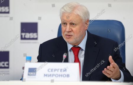 Stock Picture of Just Russia political party leader, Sergei Mironov, attends a post-election press conference in Moscow, Russia, 20 September 2021. According to the preliminary information 195 representatives of United Russia, 15 representatives of the Communist Party, 7 representatives of A Just Russia, and 1 representative of the Liberal Democratic Party have won the State Duma (Russia's lower house of parliament) elections in single-member constituencies.