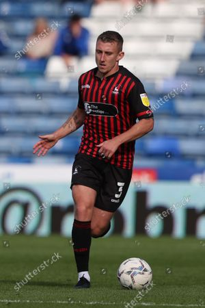 David Ferguson of Hartlepool United  during the Sky Bet League 2 match between Oldham Athletic and Hartlepool United at Boundary Park, Oldham on Saturday 18th September 2021.