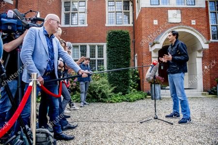 Stock Photo of Wopke Hoekstra (CDA), Sigrid Kaag (D66), Mark Rutte (VVD), informateur Johan Remkes, Sophie Hermans (VVD), Rob Jetten (D66) and Pieter Heerma (CDA) at the De Zwaluwenberg estate for the progress of the training talks. The negotiators spend two days in the defense field to discuss the formation of a new government. /