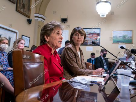 Rep. Jan Schakowsky, D-Ill., left, and Rep. Cathy McMorris Rodgers, R-Wash., right, make statements before the House Rules Committee as Democrats work to offset the new restrictive abortion law in Texas, at the Capitol in Washington