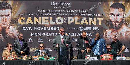 Editorial photo of Canelo Alvarez vs Caleb Plant, press conference, Los Angeles, California, USA - 21 Sep 2021