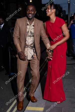 Idris Elba and Sabrina Dhowre Elba arrive for the British Vogue Tiffany Fashion and Film Event in central London