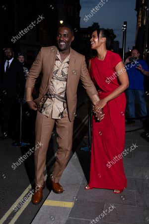 Idris Elba and Sabrina Dhowre Elba arrives for the British Vogue Tiffany Fashion and Film Event in central London