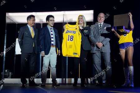 (L-R) Wookho Kyeong, CMO of CJ CheilJedang; Sun-Ho Lee, Bibigo Head of Global Business Planning; Jeanie Buss, Lakers Governor and Tim Harris, Lakers President of Business Operations, present the new 2021-2022 season Los Angeles Lakers uniform with the Bibigo logo after the announcement of a new corporate sponsorship with the company at an event at the UCLA Health Training Center in El Segundo, California, USA, 20 September 2021. Bibigo is a Korean cuisine brand.