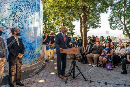 Stock Picture of Bronx Borough President Ruben Diaz Jr. speaks at 4th anniversary of Hurricane Maria at the memorial in Rockefeller Park