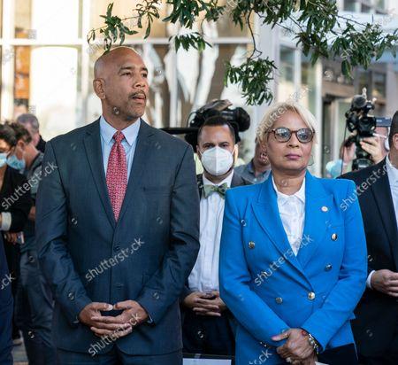 Ruben Diaz Jr., Maritza Davila attend 4th anniversary of Hurricane Maria at the memorial in Rockefeller Park