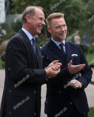 Prince Edward speaks with Ronan Keating during a visit to the Autumn RHS Chelsea Flower Show