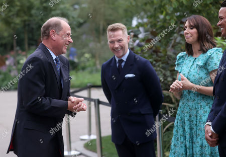 Prince Edward laughs with Ronan Keating and Alex Jones during a visit to the Autumn RHS Chelsea Flower Show