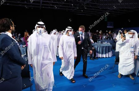 Sheikh Hamdan bin Mohammed bin Rashid Al Maktoum (C), Crown Prince of Dubai and Chairman of Dubai Executive Council arrives to attend the opening ceremony of the Gastech Exhibition and Conference in Dubai, United Arab Emirates, 21 September 2021. Around 15,000 global industry professionals are gathering at the Gastech 2021, the world's foremost exhibition and conference and energy industry, in-person for the first time after the COVID-19 pandemic.