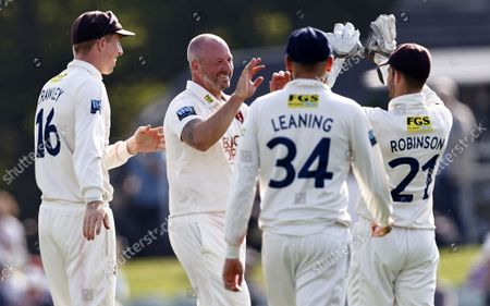 Stock Image of Darren Stevens of Kent is congratulated after taking the wicket of John Simpson during Kent CCC vs Middlesex CCC, LV Insurance County Championship Division 3 Cricket at The Spitfire Ground on 21st September 2021