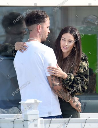 Exclusive -  Michelle Keegan films the Sky comedy Brassic alongside Joseph Gilgun. In scenes filmed in a Caravan Park her character Erin can be seen getting close to Vinny played by Joe.