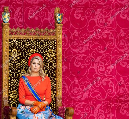Queen Maxima of the Netherlands during Prinsjesdag 2021 celebrations, where they leave Noordeinde Royal Palace and drive to Grote Kerk for the throne speech to the members of the Upper and Lower Chamber on Prinsjesdag (Budget Day), in The Hague.