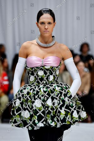 Amelia Gray Hamlin on the catwalk of the Richard Quinn LFW s/s 22 show at the Londoner Hotel.