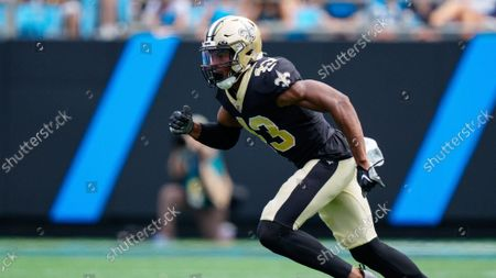 Stock Image of New Orleans Saints free safety Marcus Williams plays against the Carolina Panthers during the first half of an NFL football game, in Charlotte, N.C