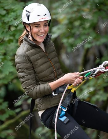 Catherine Duchess of Cambridge at the Windermer Adventure Training Centre with RAF Cadets, taking part in Mountain biking and abseiling