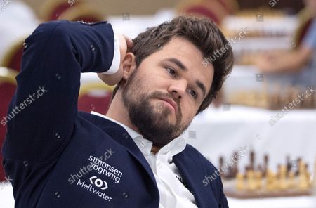 Chess World Champion Magnus Carlsen prepares for the fourth round of the 36th European Club Cup in Struga, Republic of North Macedonia, 21 September 2021. Magnus Carlsen, Chess World Champion with his Norwegian team 'Offerspill Chess Club', is among the 37 Clubs from 22 European countries that take part in the 36th European Club Cup between 17-25 September 2021 in Struga, Ohrid Lake, North Macedonia.