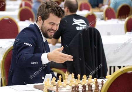 Chess World Champion Magnus Carlsen reacts prior to the fourth round of the 36th European Club Cup in Struga, Republic of North Macedonia, 21 September 2021. Magnus Carlsen, Chess World Champion with his Norwegian team 'Offerspill Chess Club', is among the 37 Clubs from 22 European countries that take part in the 36th European Club Cup between 17-25 September 2021 in Struga, Ohrid Lake, North Macedonia.