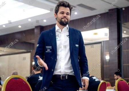 Chess World Champion Magnus Carlsen arrives prior to the fourth round of the 36th European Club Cup in Struga, Republic of North Macedonia, 21 September 2021. Magnus Carlsen, Chess World Champion with his Norwegian team 'Offerspill Chess Club', is among the 37 Clubs from 22 European countries that take part in the 36th European Club Cup between 17-25 September 2021 in Struga, Ohrid Lake, North Macedonia.