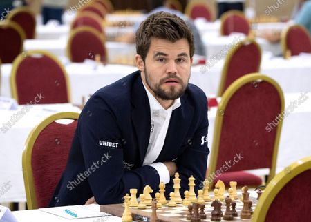 Stock Image of Chess World Champion Magnus Carlsen prepares for the fourth round of the 36th European Club Cup in Struga, Republic of North Macedonia, 21 September 2021. Magnus Carlsen, Chess World Champion with his Norwegian team 'Offerspill Chess Club', is among the 37 Clubs from 22 European countries that take part in the 36th European Club Cup between 17-25 September 2021 in Struga, Ohrid Lake, North Macedonia.