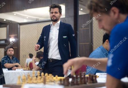 Stock Picture of Chess World Champion Magnus Carlsen arrives prior to the fourth round of the 36th European Club Cup in Struga, Republic of North Macedonia, 21 September 2021. Magnus Carlsen, Chess World Champion with his Norwegian team 'Offerspill Chess Club', is among the 37 Clubs from 22 European countries that take part in the 36th European Club Cup between 17-25 September 2021 in Struga, Ohrid Lake, North Macedonia.
