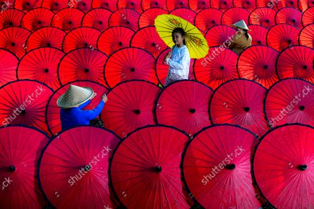 Workers create colourful, traditional umbrellas and arrange them in neat lines. A support rod and thick paper are attached using strong glue before the parasols are painted and adorned with intricate patterns.They are then stored in a cultural studio where traditional items are stored in the Sindang Barang village, in West Java, an Indonesian province. Great care has to be taken so that they do not get mouldy as they are made from paper.