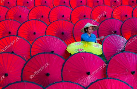 Workers create colourful, traditional umbrellas and arrange them in neat lines. A support rod and thick paper are attached using strong glue before the parasols are painted and adorned with intricate patterns.  They are then stored in a cultural studio where traditional items are stored in the Sindang Barang village, in West Java, an Indonesian province. Great care has to be taken so that they do not get mouldy as they are made from paper.