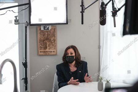 Vice President Kamala Harris visits with Jamie Smith inside her home on September 21, 2021 in Chevy Chase, DC to discuss the importance of passing the Build Back Better Agenda for parents and working families.