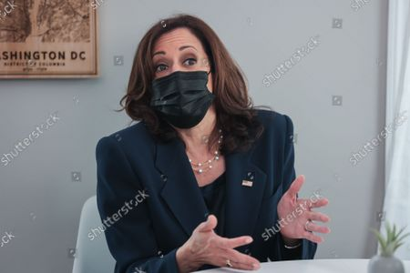 Vice President Kamala Harris visits the home of Jamie Smith to discuss the importance of passing the Build Back Better Agenda for parents and working families on September 21, 2021 in Chevy Chase, DC.