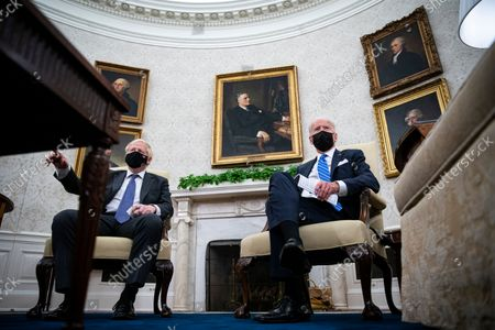United States President Joe Biden meets with Prime Minister Boris Johnson of Britain in the Oval Office of the White House in Washington, DC, on Tuesday, September 21, 2021.