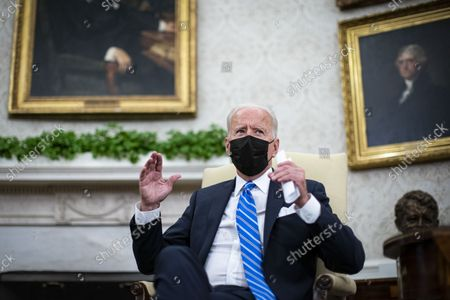 United States President Joe Biden makes remarks to the press as he meets with Prime Minister Boris Johnson of Britain in the Oval Office of the White House in Washington, DC, on Tuesday, September 21, 2021.