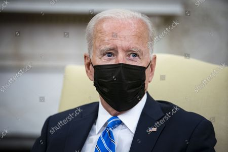 Stock Image of United States President Joe Biden meets with Prime Minister Boris Johnson of Britain in the Oval Office of the White House in Washington, DC, on Tuesday, September 21, 2021.