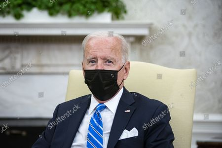 Stock Picture of United States President Joe Biden meets with Prime Minister Boris Johnson of Britain in the Oval Office of the White House in Washington, DC, on Tuesday, September 21, 2021.