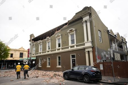 Emergency services on scene after Betty's Burgers on Chappel Street in Windsor was damaged following an earthquake, Melbourne, Australia, 22 September 2021. Victoria State Emergency Service confirmed the earthquake was 6.0 on the richer scale and eminated from Mansfield, Victoria.