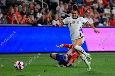 United States forward Sophia Smith (27) plays the field during an international friendly soccer match against Paraguay, in Cincinnati. The United States won 8-0