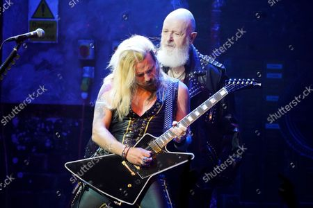 Stock Image of Richie Faulkner, left, and Rob Halford of Judas Priest perform at the Rosemont Theatre on Monday, Sept. 20, 2021, in Rosemont, Il.