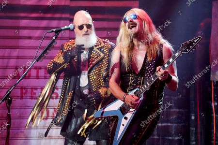Rob Halford, left, and Richie Faulkner of Judas Priest perform at the Rosemont Theatre on Monday, Sept. 20, 2021, in Rosemont, Il.