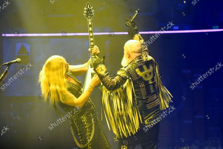 Richie Faulkner, left, and Rob Halford of Judas Priest perform at the Rosemont Theatre on Monday, Sept. 20, 2021, in Rosemont, Il.