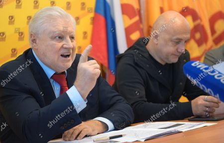 """Stock Image of Elections of deputies of the State Duma of Russia of the eighth convocation and combined with them elections and referendums in the constituent entities of the Russian Federation. Opening ceremony of the informational headquarters for coverage of the voting process """"Bunker SDB (Free Big Dialogue)"""", organized by the """"Fair Russia - Patriots - For Truth"""" party. Chairman of the Fair Russia - Patriots - For Truth party, head of the Fair Russia faction in the Russian State Duma Sergei Mironov (left) and co-chairman of the Fair Russia - Patriots - For Truth party, writer Zakhar Prilepin (right) during a ceremony.September 17, 2021. Russia, MoscowPhoto credit: Dmitry Lebedev/Kommersant"""