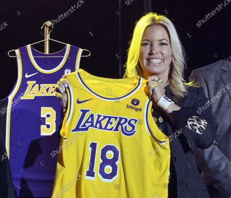 Los Angeles Lakers CEO Jeanie Buss holds a new Lakers jersey with a Bibigo patch during the team's kick-off event to announce a new global marketing partnership with Bibigo, a popular South Korean food company at the UCLA Health Training Center in El Segundo, California on Monday, September 20, 2021. Ahead of the 2017-18 NBA season, the NBA put into action its patch program that allowed NBA teams to rent out a small square (2.5 inches by 2.5 inches) on the left shoulder of their jerseys to outside companies. The Lakers' $100 million partnership with Bibigo is now the largest jersey patch deal in the NBA. It's also the league's first jersey patch deal with a company outside of the United States and LA's first international partnership in franchise history.