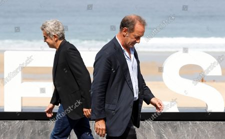 French film maker Thierry de Peretti (L) and actor Vincent Lindon (R) pose during the presentation of their last film 'Undercover' (Enquête sur un scadale D'Etat) at the 69th San Sebastian International Film Festival (SSIFF), in San Sebastian, Spain, 22 September 2021. The festival runs from 17 to 25 September 2021.