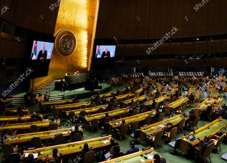 King Abdullah II of Jordan delivers a pre-recorded message during the 76th Session of the U.N. General Assembly at United Nations headquarters in New York, on