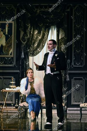 """Evelyne Buyle, Olivier Sitruk, Delphine Depardieu, Arnaud Denis.Spinning of the play """"The Importance of Being Constant"""" at the Theatre Hebertot Paris.Author Oscar Wilde, adaptation Pierre Arcan, staging Arnaud Denis."""""""