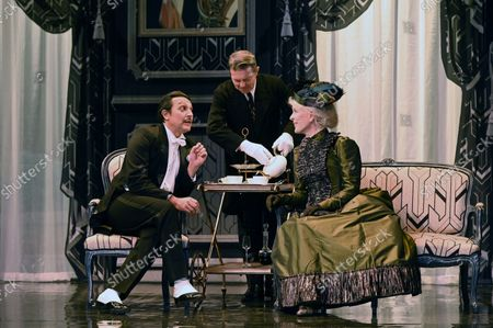 """Stock Picture of Evelyne Buyle, Olivier Sitruk, Delphine Depardieu, Arnaud Denis.Spinning of the play """"The Importance of Being Constant"""" at the Theatre Hebertot Paris.Author Oscar Wilde, adaptation Pierre Arcan, staging Arnaud Denis."""""""