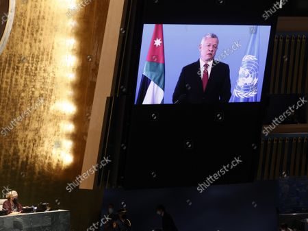 King Abdullah II ibn Al Hussein, King, Hashemite Kingdom of Jordan delivers a pre-recorded message at the UN General Assembly 76th session General Debate in UN General Assembly Hall at the United Nations Headquarters on Wednesday, September 22, 2021 in New York City.