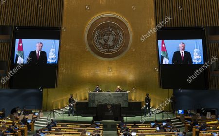 Jordan's King Abdullah II ibn Al Hussein addresses via prerecorded statement at the UN General Assembly 76th session General Debate in UN General Assembly Hall at the United Nations Headquarters on Wednesday, September 22, 2021 in New York City.
