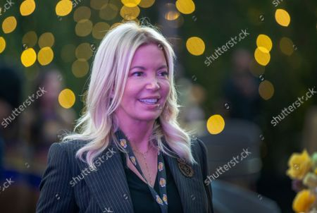 Jeanie Buss, CEO / Governor / Co-owner of the Los Angeles Lakers, appears as the Lakers host a 2021-2022 season kick-off event to unveil and announce a new global marketing partnership with Bibigo, which will appear on the Lakers' jersey at the UCLA Health Training Center in El Segundo on Monday, Sept. 20, 2021. (Allen J. Schaben / Los Angeles Times)